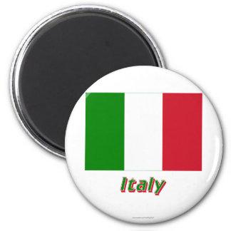 Bandera de Italia con nombre Imán Redondo 5 Cm