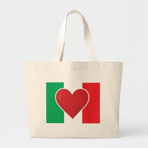 Bandera de Italia del corazón Bolsa Tela Grande