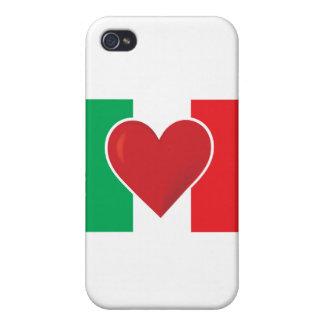 Bandera de Italia del corazón iPhone 4 Protectores