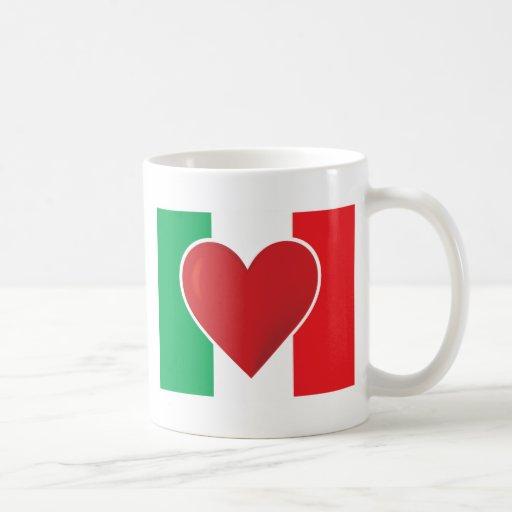 Bandera de Italia del corazón Tazas De Café