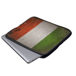 Bandera de Italia del Grunge del vintage Mangas Computadora