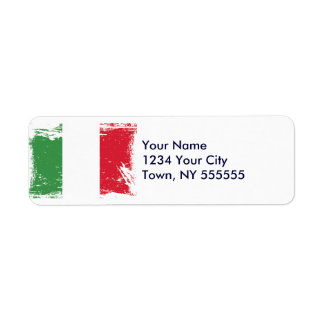 Bandera de Italia del Grunge Etiquetas De Remite