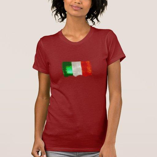 Bandera de Italia del Grunge para los italianos de Poleras