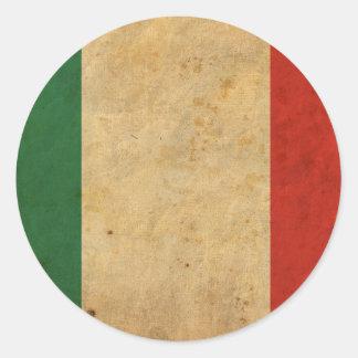 Bandera de Italia del vintage Etiqueta Redonda