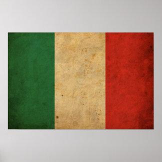 Bandera de Italia del vintage Póster