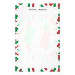 Bandera de Italia en las capas coloridas múltiples Papeleria De Diseño