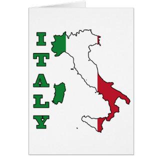 Bandera de Italia en mapa Tarjeta De Felicitación