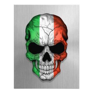 Bandera de Italia en un gráfico de acero del cráne Invitaciones Personalizada