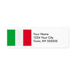 Bandera de Italia Etiqueta De Remite