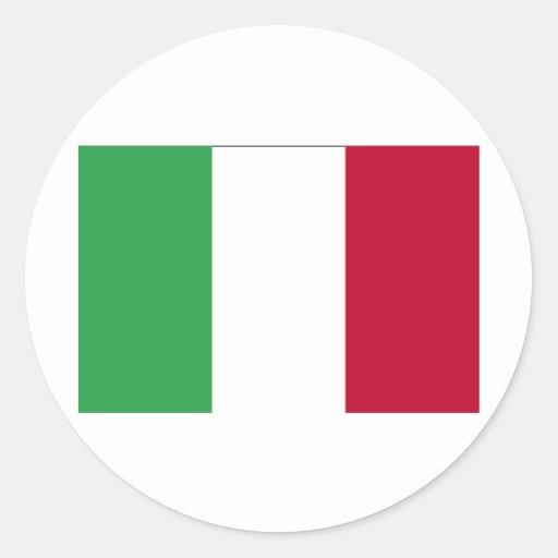 BANDERA DE ITALIA ETIQUETA REDONDA