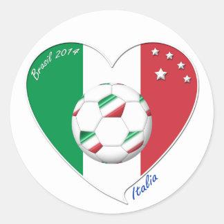 Bandera de ITALIA FÚTBOL del corazón nacional 2014 Etiquetas Redondas
