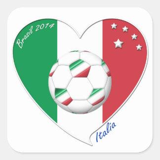 Bandera de ITALIA FÚTBOL del corazón nacional 2014 Colcomanias Cuadradas