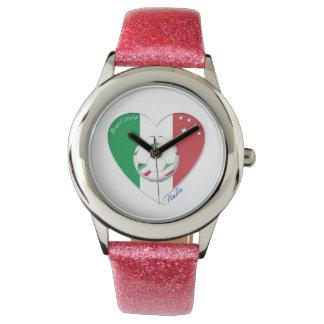 Bandera de ITALIA FÚTBOL del corazón nacional 2014 Reloj De Mano