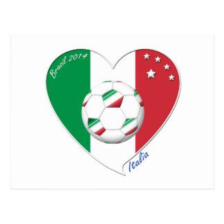 Bandera de ITALIA FÚTBOL del corazón nacional 2014 Postales