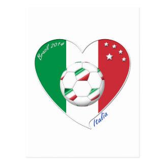 Bandera de ITALIA FÚTBOL del corazón nacional 2014 Tarjeta Postal