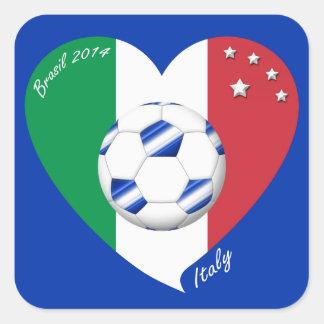 Bandera de ITALIA FÚTBOL nacional del equipo 2014 Calcomanía Cuadrada Personalizada