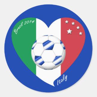 Bandera de ITALIA FÚTBOL nacional del equipo 2014 Pegatina Redonda