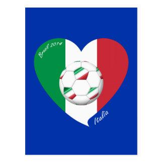Bandera de ITALIA FÚTBOL y equipos nacionales 2014 Tarjetas Postales