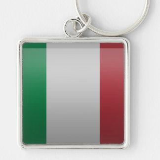 Bandera de Italia Llavero Cuadrado Plateado