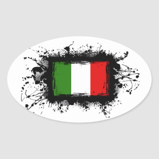 Bandera de Italia Pegatina Ovalada