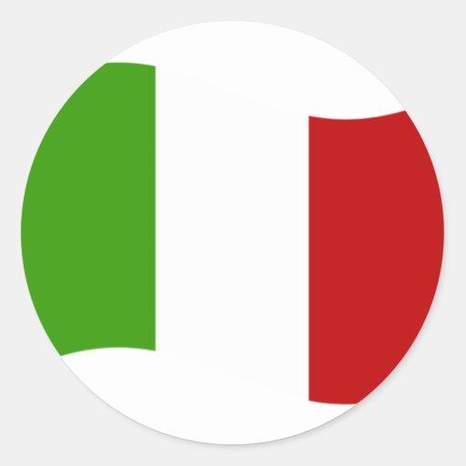 Bandera de Italia que agita Pegatina Redonda