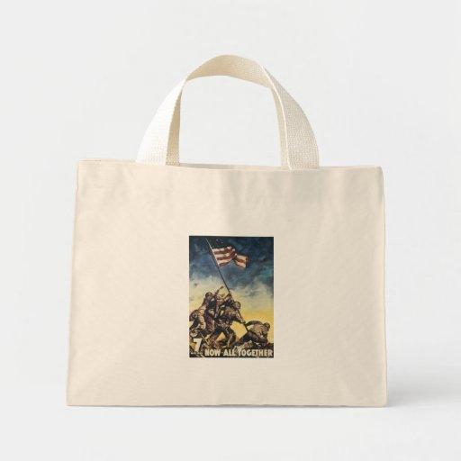 Bandera de Iwo Jima que aumenta el vintage del grá Bolsas