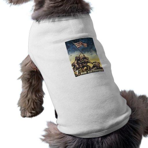 Bandera de Iwo Jima que aumenta el vintage del grá Camisa De Mascota