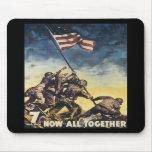 Bandera de Iwo Jima que aumenta el vintage del grá Tapetes De Ratón