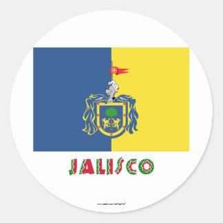 Bandera de Jalisco Pegatina Redonda