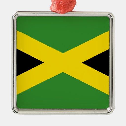 Bandera de Jamaica Adorno Navideño Cuadrado De Metal