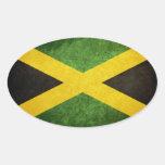 Bandera de Jamaica Calcomanías Ovaladas