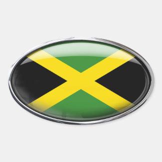 Bandera de Jamaica en el óvalo de cristal Pegatina Ovalada