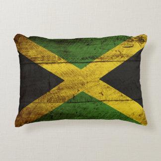 Bandera de Jamaica en grano de madera viejo