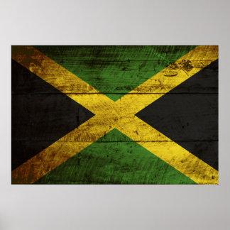 Bandera de Jamaica en grano de madera viejo Impresiones