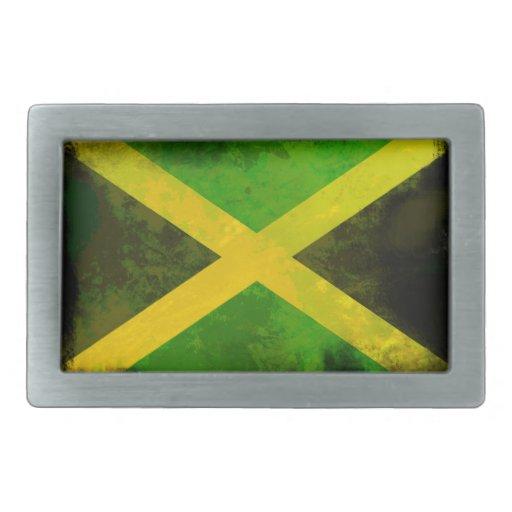 bandera de Jamaica - raíces del reggae Hebilla De Cinturon Rectangular