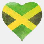 bandera de Jamaica - raíces del reggae Pegatinas De Corazon