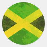 bandera de Jamaica - raíces del reggae Etiqueta Redonda