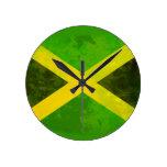bandera de Jamaica - raíces del reggae Relojes De Pared