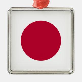Bandera de Japón - 日章旗 - 日の丸 - 日本の国旗 Adorno Navideño Cuadrado De Metal