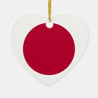 Bandera de Japón - 日章旗 - 日の丸 - 日本の国旗 Adorno Navideño De Cerámica En Forma De Corazón