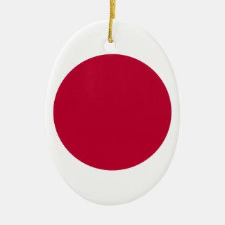 Bandera de Japón - 日章旗 - 日の丸 - 日本の国旗 Adorno Navideño Ovalado De Cerámica