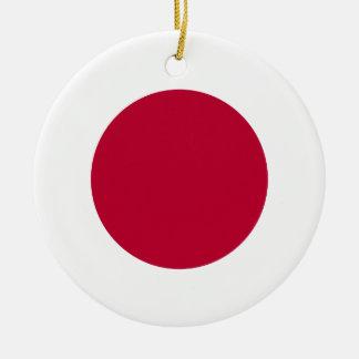 Bandera de Japón - 日章旗 - 日の丸 - 日本の国旗 Adorno Navideño Redondo De Cerámica