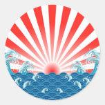 Bandera de Japón - NIPÓN Etiqueta Redonda