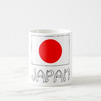 Bandera de Japón y blanco de la palabra Taza
