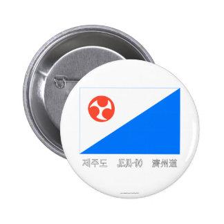 Bandera de Jeju-Do con nombre Pin Redondo 5 Cm