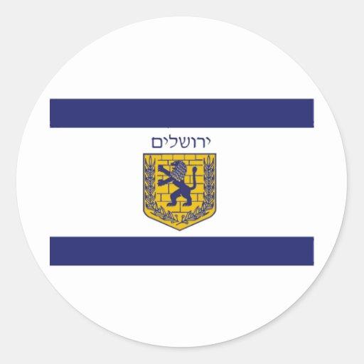 Bandera de Jerusalén Pegatina Redonda
