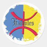 Bandera de Kabylia apenada alrededor de los pegati Etiquetas Redondas