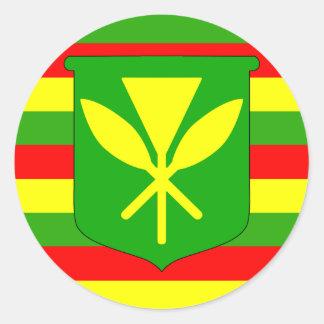 Bandera de Kanaka Maoli Pegatina Redonda