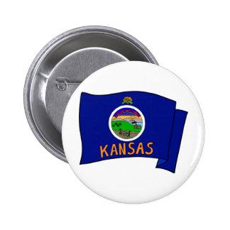 Bandera de Kansas Pin Redondo De 2 Pulgadas