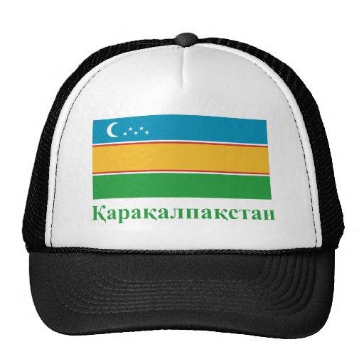 Bandera de Karakalpakstan con nombre en karakalpak Gorros Bordados